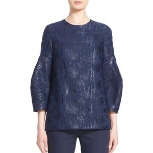 Lela Rose Blue Full Sleeve Metallic Shimmer Blouse